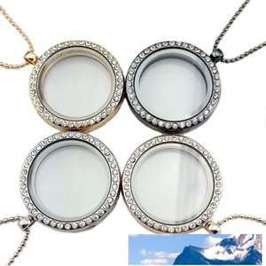 Crystal Floating Locket Necklace Magnetic Living Memory Round lockets Frame Pendants fashion DIY jewelry Will and Sandy drop ship