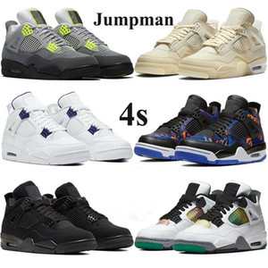 Mejores Jumpman 4 4s zapatos de baloncesto de los hombres de las mujeres xsail deporte blanco zapatillas de punta violeta negro de neón SE gato negro 2020 entrenadores de atletismo metálicos