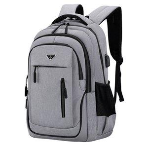 Большая емкость Мужчины Рюкзак для ноутбука 15,6 Oxford Gray Твердый High School Bags Подросток студент колледжа Back Pack Многофункционального Bagpack