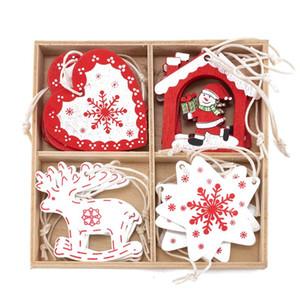 16PCS عيد الميلاد خشبي شجرة عيد الميلاد قلادة الإبداعية معلق الحلي ديكور المنزل مهرجان الدعائم مع صندوق للعام الحزب الجديد