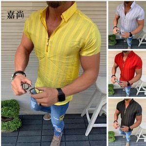 2020 hommes d'été T-shirts Casual hawaïenne mode Stripe manches courtes Beach Holiday Floral Streetwear V-Neck T-shirt Zipper