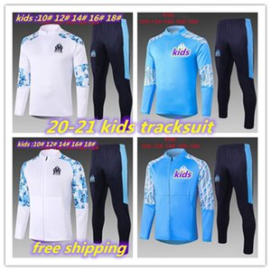 20-21 kids Olympique de Marseille child tracksuit soccer training suit Maillot De Foot PAYET THAUVIN OM Football jacket jogging full zipper