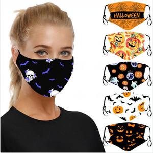 Cadılar Bayramı Kabak Baskılı Yüz Maskeleri Ayarlanabilir Kulak-döngü PM2.5 Koruyucu 3D Halloween Kafatası Yıkanabilir Yeniden kullanılabilir Bez Maskeleri DDA329 Maske