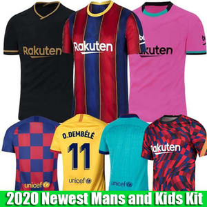 2019 2020 FC Barcelone Football Maillots 10 Messi 21 F.DE JONG 17 11 Griezmann O.DEMBELE Player version hommes et enfants Kit Set uniforme Jersey