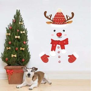 Xmas Frigorífico etiquetas dos desenhos animados Milu cervos Impresso parede Porta Etiqueta Chiristmas enigma Adesivos Decorações de Natal WY822Q