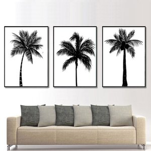 Black White Coconut Tree Canvas Poster And Prints Minimalist Tropical Plant Wall Art Paintings Picture Living Room Decor
