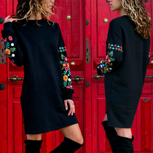 Frauen Herbst- und Winter-Europäische und amerikanische sexy Sicherungsfunktionen gedruckt Gummi-Druck-langärmliges Kleid