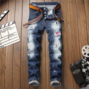 rS025 HckqB primavera e l'estate jean stile personalizzato moda coreana alla moda elastico alla caviglia pantaloni rotti jeans cerotto foro splash-ink e