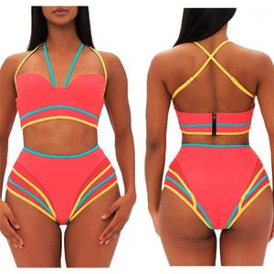 Tasarımcı Bikiniler Sarılı Göğüs Yüksek Bel Push Up Bayanlar Tankinis ile Fermuar Halter Patchwork Bikini Şeker Renk Yaz Womens