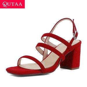 QUTAA 2020 Kid Suede Qualität Frauen-Pumpen-Schnalle Mode-Sommer-Frauen-Sandelholz-Quadrat-Absatz Sling Damen-Schuh-Größe 34-39