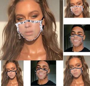 Máscaras Limpar janela visível Boca Máscara Lip Idioma Dustproof Mask Fashion Designer adulto Lace Floral Visible cobrir a boca GWF1832