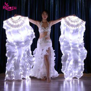 Ruoru 2 peças = 1 par Belly Dance Led Silk Fan Veil 100% Silk Led Branco Arco-íris Belly Dance Fan Veil Stage Desempenho Props