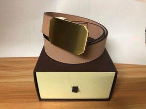 2020 Belt Womens alta qualidade couro genuíno Preto Color Marca LU couro cinto para Mens Belt com caixa original