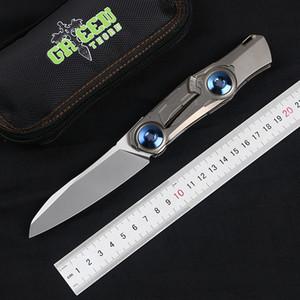 """실제 접이식 칼 EDC 도구를 사냥 녹색 가시 """"technobamboo""""m390 블레이드 TC4 티타늄 핸들 야외 캠핑"""