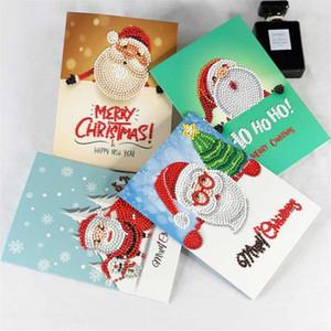 Tarjetas de Navidad la decoración de diamante de la Navidad Pintura Tarjetas Postales Feliz Saludo del arte DIY regalo para los cabritos 8pcs conjunto uno