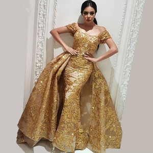 NewSparkly Gold Overskirt Mermaid Prom Dresses Off the shoulder Evening Dress with Detachable Train Organza Sequins Lace Party Gown