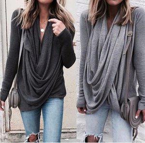 Womens Pile collier irrégulière T-shirts Automne Hiver couleur unie à manches longues T-shirts femmes 5XL Taille Plus Hauts en vrac causales