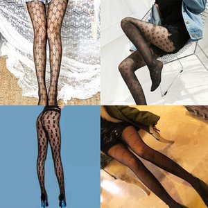 Großhandel Frauen G Brief Silk Stockings Strumpfhosen Sexy Strümpfe Fashion Silk Socken Transparent Grid Socke Lange Stocking