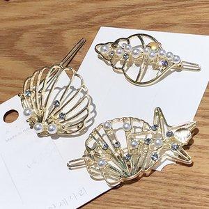 Nuovo Cute Blond guscio forma semplice tornante femmina in metallo stile oceano clip dei monili dei capelli Hair Style Accessori