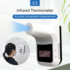 غير الاتصال بالأشعة تحت الحمراء ميزان الحرارة K3 جدار جبل الخدمة الذاتية قياس درجة الحرارة التلقائي للكشف عن شاشة LCD إنذار