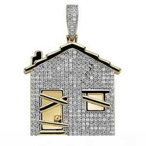 Iced Out 14K Gold Plated House Shape Pendant Necklace Micro Paved Zircon Men Hip Hop Jewelry
