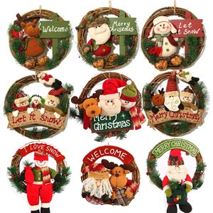 Christmas wreath solid wood diameter 35cm rattan loop flannelette doll Christmas door hanging 2020 New Year home decoration