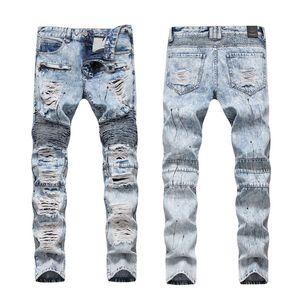 Men's Jeans Trendy Ripped Hole Men For Motorcycle Straight Spliced Denim Pants Trousers Big Size Slim Fit Punk Rock Vintage