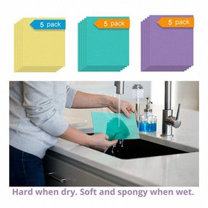 5PCS / pacchetto Super assorbente panno di pulizia di cotone cucina del piatto da tavola panno di pulizia della famiglia lavastoviglie spugna da cucina YPiP #