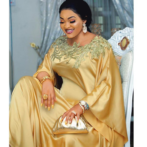Fashion Embroidery 100% Gold Silk Traditional African Dashiki Long Maxi Dress Evening Robe Party Gowns New Aftican Arrivals