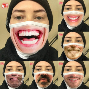 Funny Mouth Face Mask Cute Anti Dust Funny Teeth Mouth Mask Cartoon Face Emotiction Masque Washable Reusable Fashion Mouth Mask NEW
