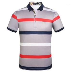 Polo di moda Cavalli stampato Maniche corte T-shirt a righe risvolto Mens Abbigliamento uomo Designer