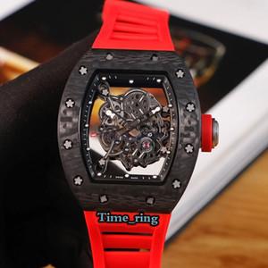RM-055 Skeleton Dial orologi di design in fibra di carbonio NTPT caso del Giappone Miyota movimento RM-055 Mens Strap Automatic Watch Red Rubber versione top