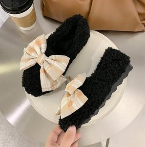 Bowknot hairy shoes 2020 autumn new peas women's shoes flat one-foot shallow mouth single shoes women summer all-match