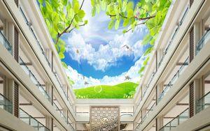 3d ceiling non woven wallpaper custom Green tree cloud flying pigeon 3d ceiling living room mural wallpaper for walls 3 d ceiling