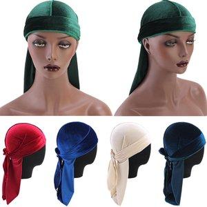 Унисекс Velvet Durag сделать ду дю тряпка Длинный хвост Headwrap Мужчины Женщины дышащий Бандана Hat Cap Химиотерапия Solid Color Velvet Bandana Шляпы