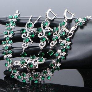 Las mujeres nupcial conjuntos de joyería de la boda de plata de ley 925 joyería de fantasía verde Pendientes circón anillos de la pulsera de la caja de regalo collar