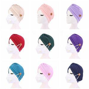 Women Turban Hats Mask Headband with Button Indian Caps Stopper Pure Turbante Headwear Adult Bandana Hijab Towel Hair Accessories DHD1474