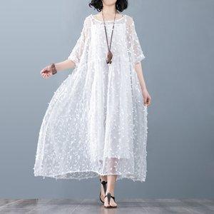 2019 bahar ve yaz New gevşek büyük boy tombul mm dut İpek işlemeli elbise ipek iki parçalı Süper peri elbise o6jqq