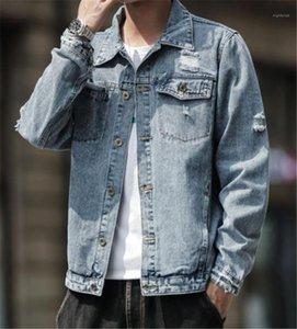 Designer Jean Jacken Mode Taschen und Knöpfen Panelled Herren Jean Jacken Designer Männer Kleidung Loch Panelled Herren