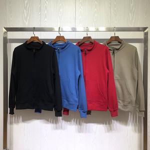 Nuovo Mens Zipper Hoodies degli uomini delle donne alla moda di colori solidi tuta sportiva del rivestimento maniche lunghe uomo di alta qualità casuale con cappuccio