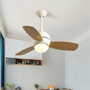 Simple Loft Macaron Led Ceiling Fan Lamp Creative Restaurant Coffee shop Living Room Ceiling Fan Light Fixtures Free Shipping