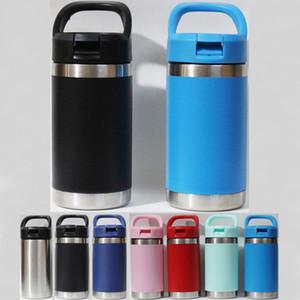 12 oz botella de agua de acero inoxidable niños Vasos con paja tapa 12oz gran capacidad para deportes tazas de café de mejor calidad por DHL