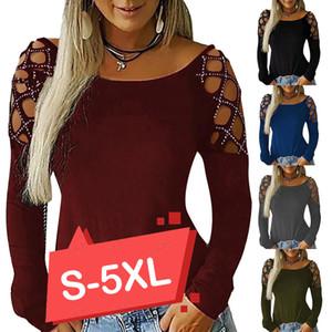5 Renkler Bluz ve Gömlek Kadın Sonbahar Yeni Lady Uzun Kollu Tee Gömlek Tops Artı Boyutu Kadın Bluzlar Oymak Top 5xl D35 200922