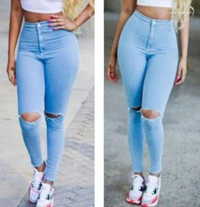 High Waist Casual Demin Pants Female Clothing 2020 Womens Designer Skinney Jeans Slim Hole Pencil Pants