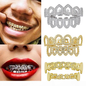 18K Gold Hip Hop Full Diamond Hollow Teeth Grillz Dental Iced Out Fang Grills Braces Tooth Cap Vampire Cosplay Rapper Jewelry Wholesale