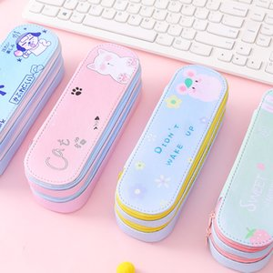 Big Volume Double Layer Pencil Cases PU Leather Pen Case Bag Cute Stationery Box Storage Bag Kawaii School Supplies 050037