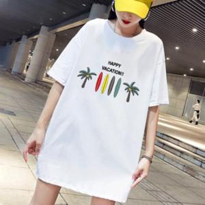 DIY Elbiseler Kadınlar Yaz Moda Diy Elbise Kız Casual Tatil Stil Mutlu Tatil Baskılı Elbise Kadın Kısa Kollu Elbise