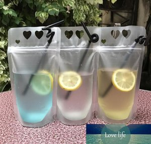 500ml Plastic Frosted Drink Packaging Bag Pouch for Beverage Juice Milk Coffee with Handle and Holes for Straw 1000pcs DHL SN1411