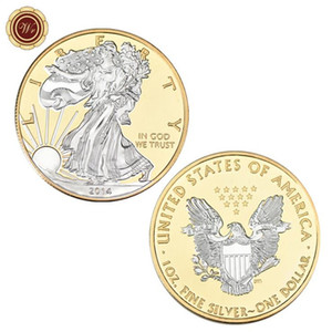 American statue of liberty commemorative coin, gold and silver plated collection gold and silver commemorative coin