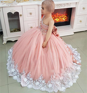 Luxury Crystals Flower Girls Dress Pageant Dresses Ball Gown 3D Floral Crystals Toddler Infant Clothes Little Girls Birthday Gown with Bow